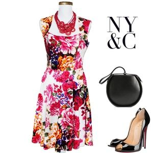 New York & Co Dresses - NY&C Red/Pink Floral Summer Dress 4